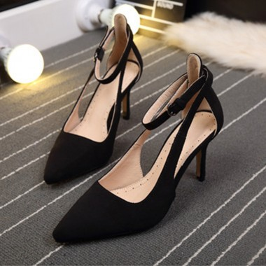Women's Mid-Heel Buckle Black/Flesh Prom Shoes