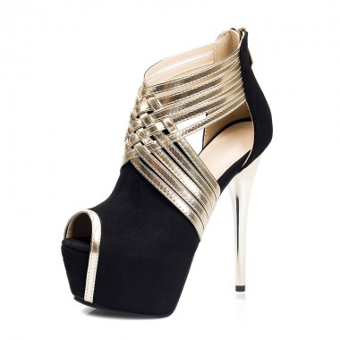 Women's Ultra-High Heel Back Zipper Black/Grey Prom Shoes
