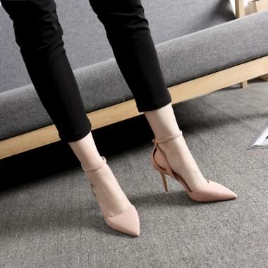 Women's High Heel Buckle Black/Pink Suede Prom Shoes