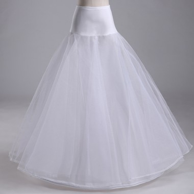 A-line Satin Waist  White Wedding Petticoats