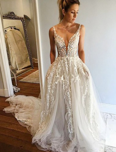 A-Line Deep V-Neck Court Train Ivory Tulle Wedding Dress with Lace Appliques