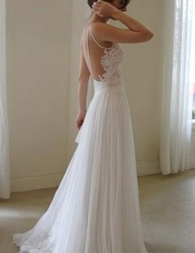 Modern Jewel Sleeveless Sweep Train Backless Wedding Dress with Lace