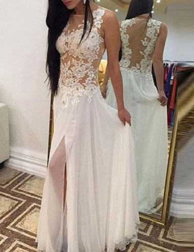 A-Line Jewel Sleeveless Floor-Length White Chiffon Prom Dress with Appliques