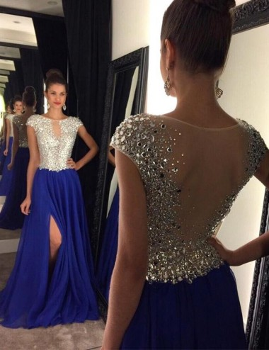 A-Line Crew Cap Sleeves Sweep Train Royal Blue Prom Dress with Beading