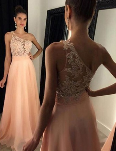 A-Line One-Shoulder Floor-Length Peach Chiffon Prom Dress with Appliques