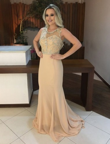 Mermaid Scoop Sweep Train Open Back Champagne Chiffon Prom Dress with Beading