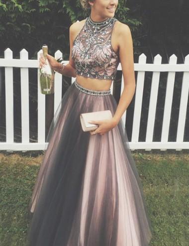 A-Line High Neck Sleeveless Floor-Length Grey Prom Dress with Beading