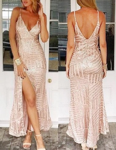 Sheath Deep V-Neck Floor-Length Sleeveless Backless Pink Sequined Prom Dress