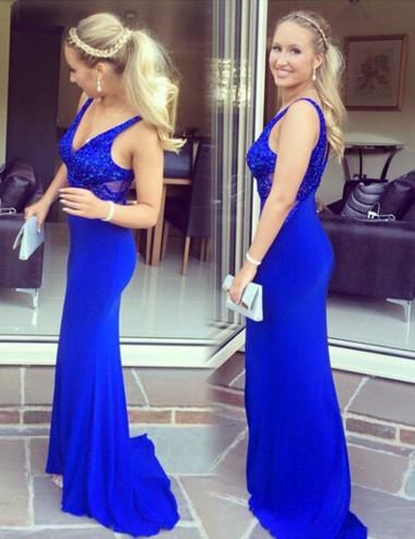 Sheath V-Neck Sleeveless Sweep Train Royal Blue Prom Dress with Beading