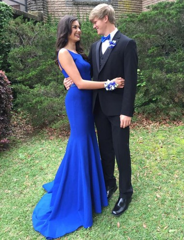 Mermaid Crew Sweep Train Open Back Royal Blue Prom Dress with Beading