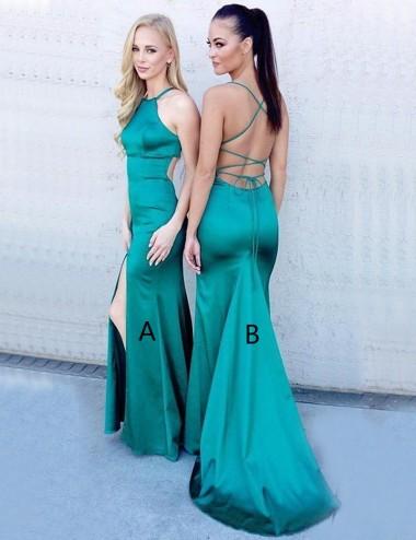 Mermaid Jewel Sleeveless Sweep Train Turquoise Prom Dress with Split