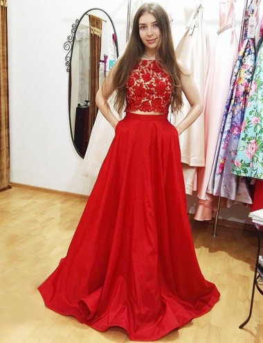 Two Piece Bateau Sleeveless Floor-Length Red Prom Dress with Appliques Pockets