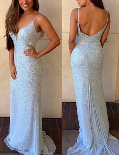 Sheath Spaghetti Straps Sweep Train Backless Sky Blue Sequined Prom Dress