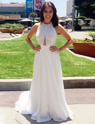 A-Line Halter Sleeveless Sweep Train Backless White Prom Dress with Keyhole