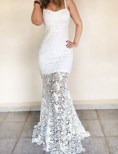 Mermaid Square Sleeveless Floor-Length White Lace Prom Dress