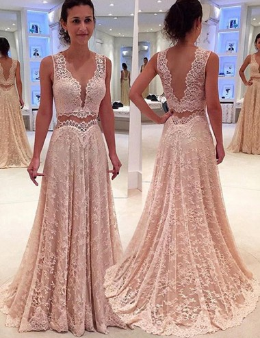 Two Piece Scalloped-Edge Long Pearl Pink Lace Prom Dress