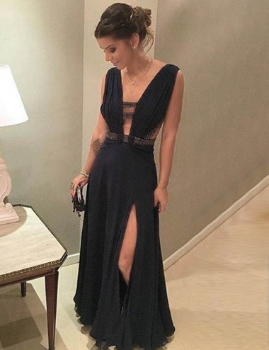 Sheath V-Neck Keyhole Cut Out Split-Side Black Chiffon Prom Dress with Beading