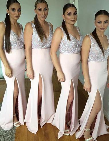 Generous V-Neck Sleeveless Sequins Split Front Mermaid Long Bridesmaid Dress