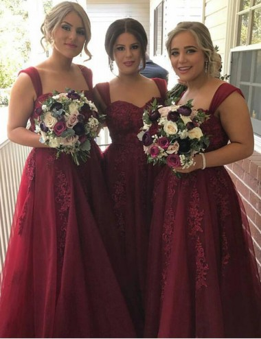 Stylish Sweetheart Floor-Length Burgundy Bridesmaid Dress with Lace