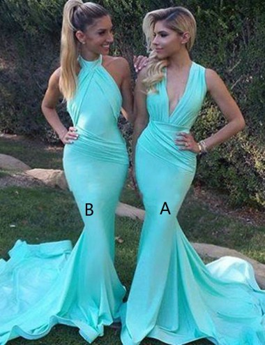 Mermaid Deep V-Neck Sweep Train Mint Bridesmaid Dress with Ruched