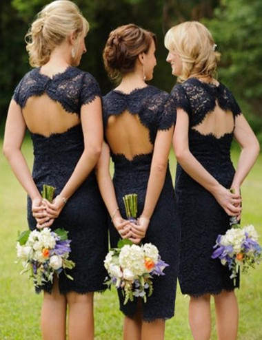Simple Round Neck Short Sleeves Open Back Navy Blue Short Lace Bridesmaid Dress