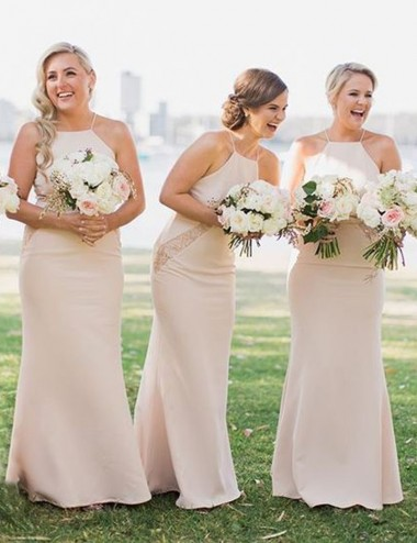 Simple Square Floor Length Sheath Pearl Pink Bridesmaid Dress with Lace