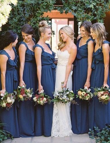A-line Scoop Sleeveless Floor-Length Ruffles Bridesmaid Dress