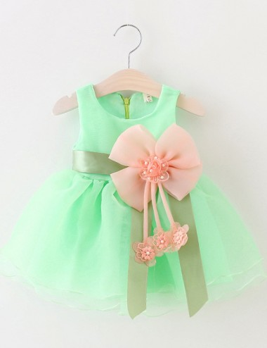 Cute Jewel Sleeveless Short Mint/Blue Organza Flower Girl Dress with Flower Pearls