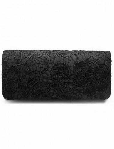 Black Lace Drop in Chain Clutch Purse