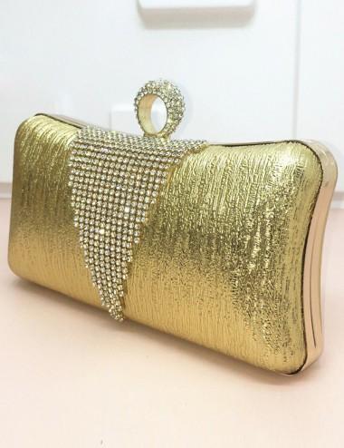 Gold Beaded Closure Chain Box Clutch