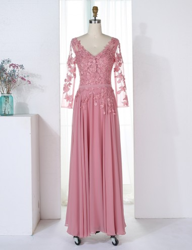 A-Line V-Neck 3/4 Sleeves Blush Chiffon Bridesmaid Dress with Appliques