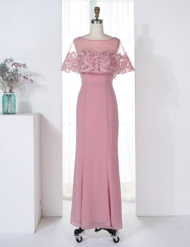 Sheath Bateau Blush Chiffon Bridesmaid Dress with Appliques Ruffles