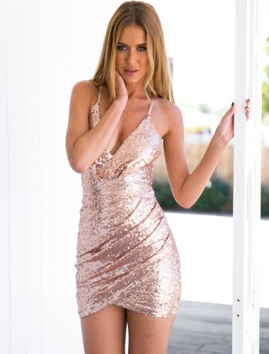 Sheath Spaghetti Straps Short Pink Sequined Homecoming Dress with Hollow