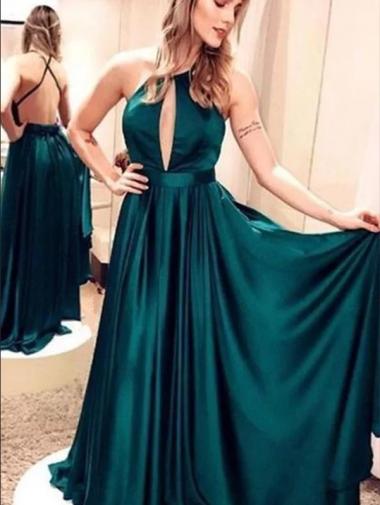 A-Line Halter Neck Sleeveless Backless Green Long Prom Dress
