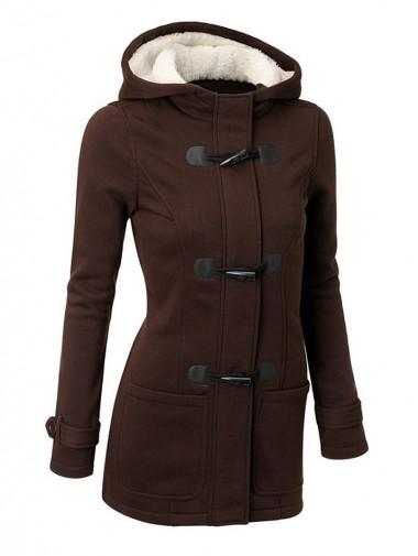 Classic Hooded Mid-Length Women Outwears Overcoat