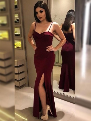 Mermaid Spaghetti Straps Burgundy Long Party Dress with Split