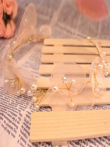 Cute Alloy Tiaras With Crystal Artificial Silk Flowers