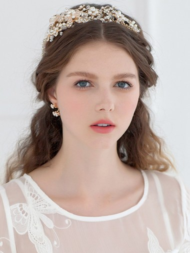Luxury Crystal Alloy Headpiece with Imitation Pearls