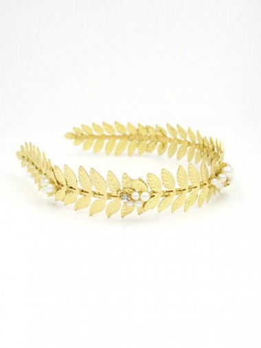 Unique Leaf Shape Alloy Tiaras with Imitation Pearls
