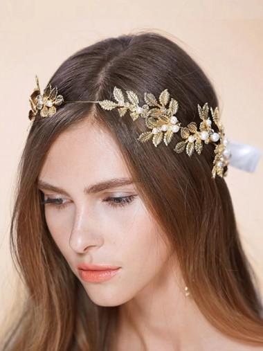 Unique Leaf Shape Alloy Headband with Imitation Pearls