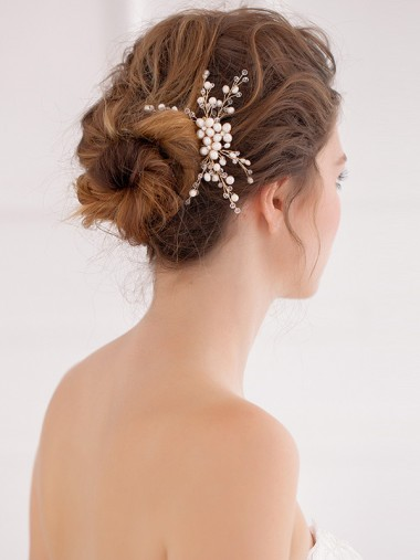 Ladies Alloy Combs & Barrettes With Imitation Pearls and Crystal