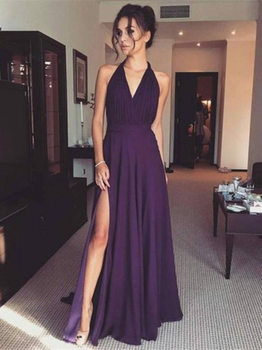 A-Line V-Neck Sleeveless Grape Chiffon Prom Dress with Split