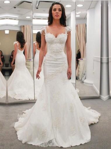 Modern Sweetheart Cap Sleeves Lace Appliques Open Back  Mermaid Wedding Dress