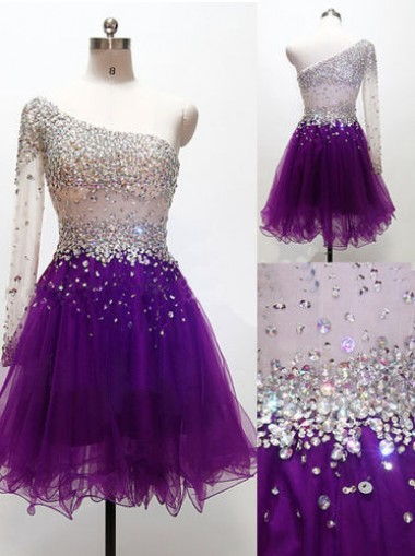 A-line One-shoulder Above-knee Tulle Beaded Long Sleeves Purple Cocktail/Homecoming Dress