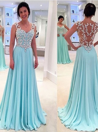 Princess A-Line Floor Length Sky Blue Prom Dress with Appliques