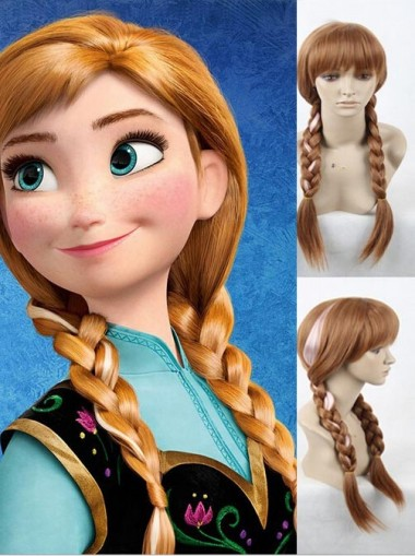 Amazing Disney Frozen Anna Cosplay Wigs Double braid Halloween Party