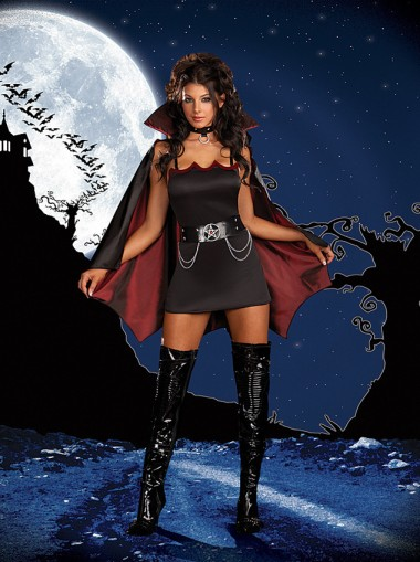 Halloween Costumes Adult Womens Midnight Vampire Costume Suit with Cape Fancy Dress Cosplay
