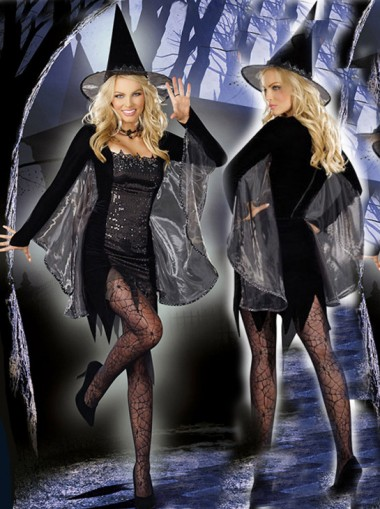 Halloween Vampire Long Sleeves Witch Custome With Hat