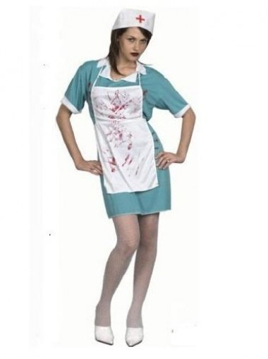 Women's Halloween Nurse Death Bloody Surgeon Scrubs Fancy