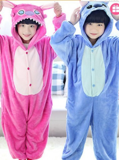 Kids Unisex One-piece Flannel Stitch Pajamas Cosplay Costume